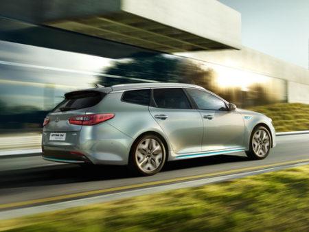 Kia Optima Sportwagon Plug-in Hybrid Seite Heck Ansicht